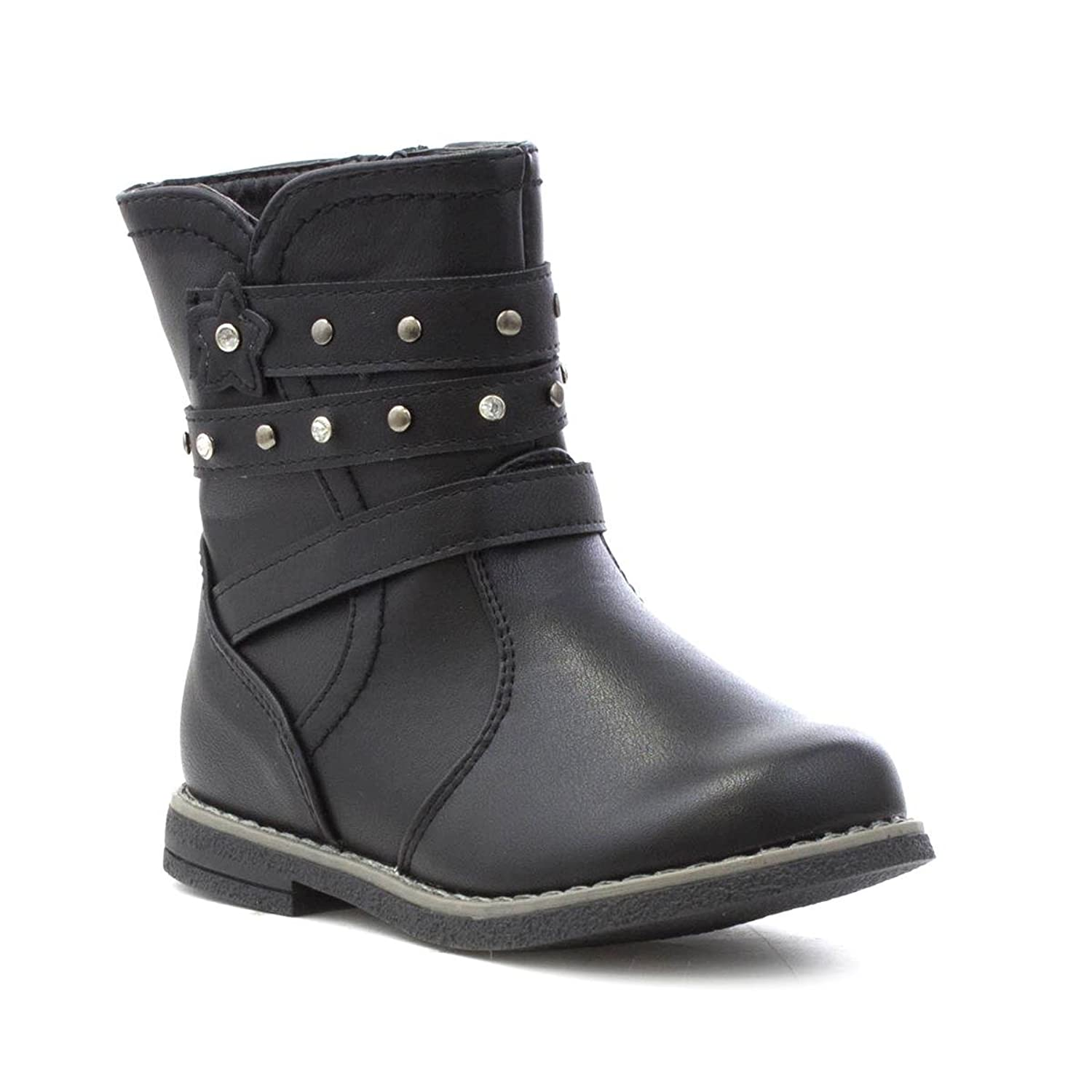 Chatterbox Girls Black Strappy Matte Effect Boot