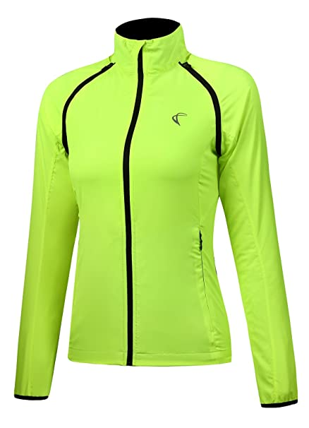 Shelcup Women s Windproof Water Resistant Convertible Cycling Running Jacket  (Yellow 11a89e9a7