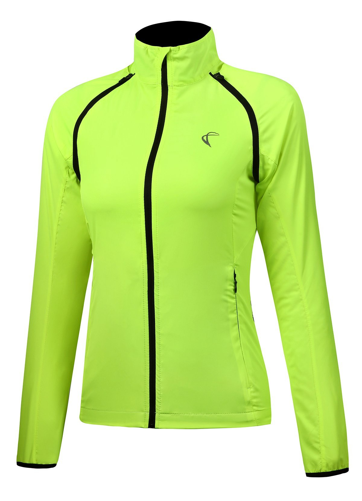 Shelcup Women's Windproof Water Resistant Convertible Cycling Running Jacket (Yellow, L)