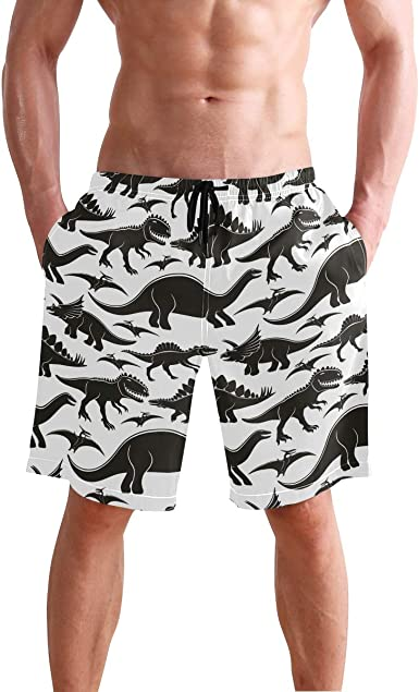 RADCRAVEN Mens Swim Trunks Dinosaur Beach Shorts Quick Dry Mesh Lining Board Shorts Swimwear with Pockets