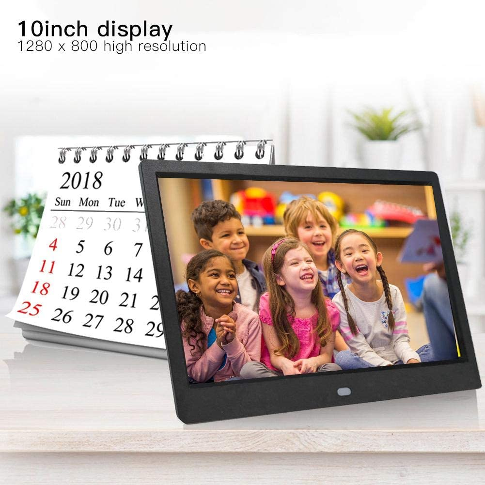 Digital Picture Frame Advertising Player Supports USB SD Card Black 10 Inch 1280x800 HD Display Electronic Photo Frame with Built-in Speaker Music//Video Player Calendar Alarm Auto On//Off