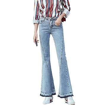 Pantalones Vaqueros de Gran Campana Femeninos de Cintura ...