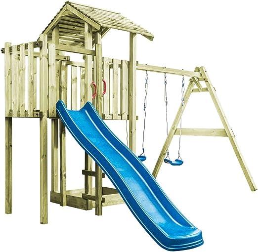Tidyard - Caseta con Escalera tobogán y Columpio, Juego con tobogán, Escalera Columpio de Madera de Pino para niños de jardín/Prato/Patio para Exterior, 407 x 381 x 263 cm, Madera FSC: Amazon.es: