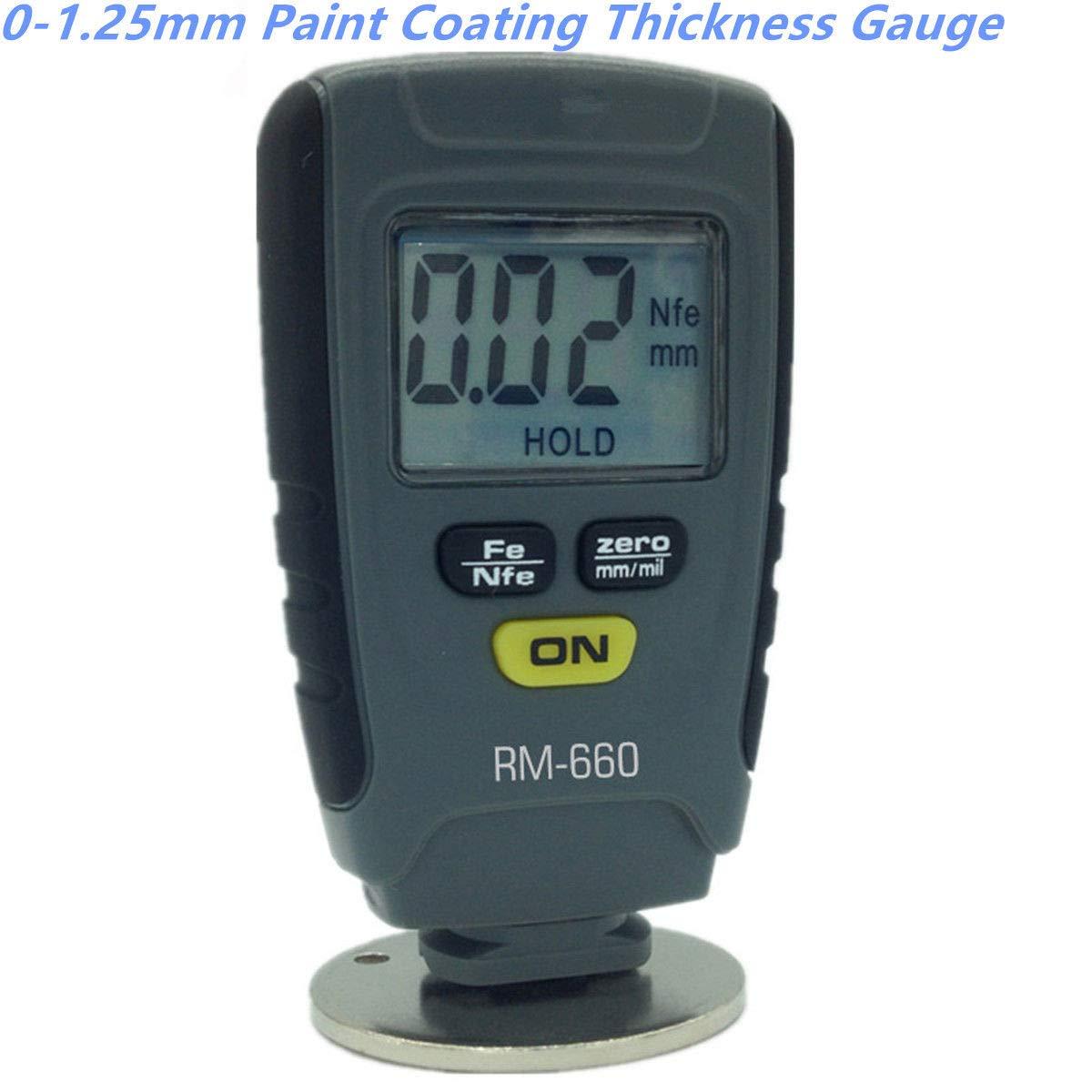 FidgetFidget Precision Paint Coating Thickness Gauge Meter Tester 0-1.25mm Base Iron Aluminum