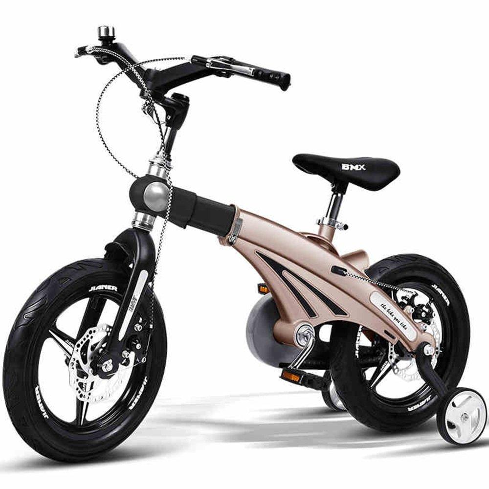YANGFEI 子ども用自転車 子供の自転車の男の子のベビー自転車2歳から9歳のベビーキャリッジ12/14/16インチキッズバイクの自転車の長さのハンドルバーの座席 212歳 B07DWTLKQB 16 inch|ゴールド ゴールド 16 inch