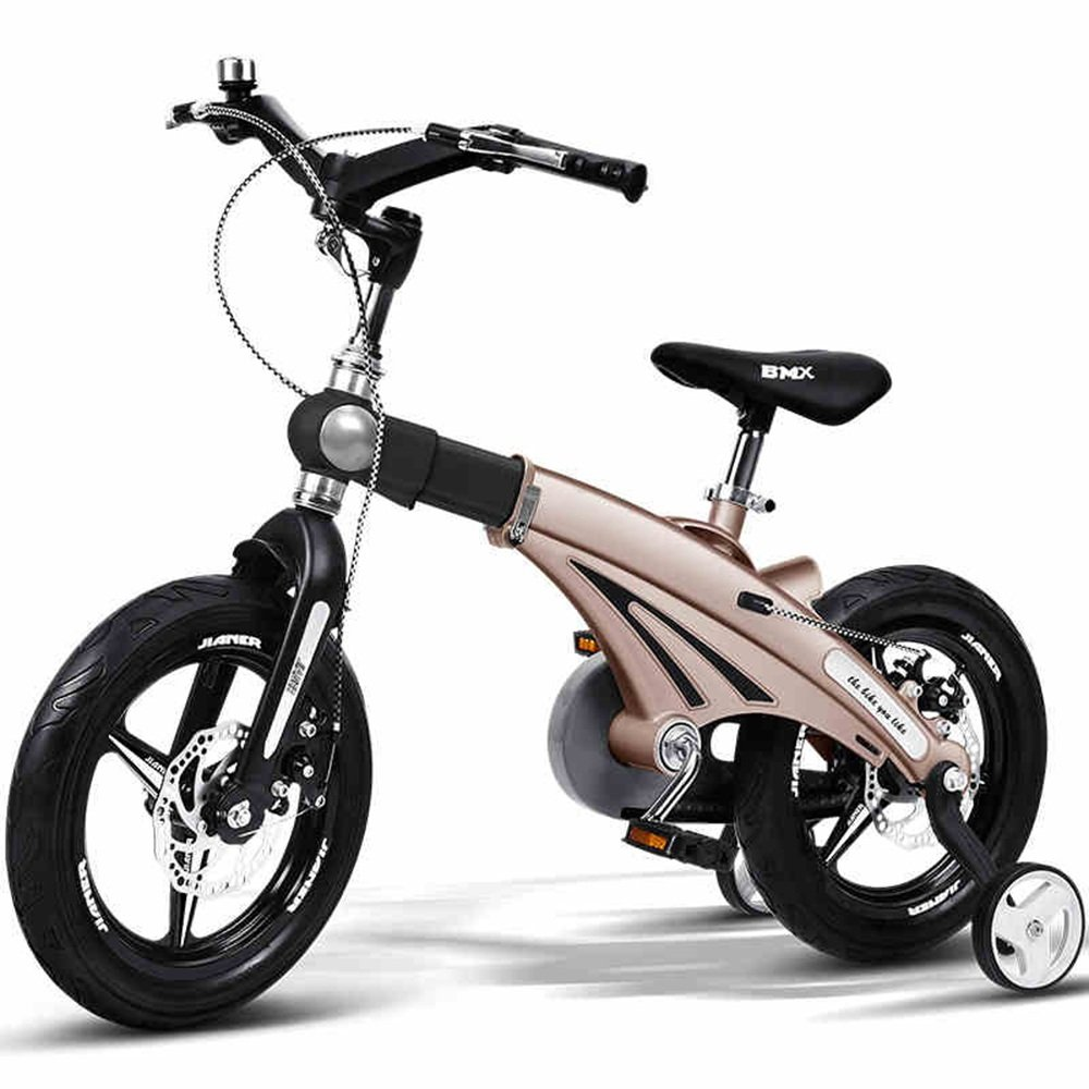 HAIZHEN マウンテンバイク 子供の自転車の男の子のベビー自転車2歳から9歳のベビーキャリッジ12/14/16インチキッズバイクの自転車の長さのハンドルバーの座席 新生児 B07CC42X35ゴールド 12 inch
