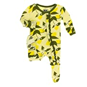 Kickee Pants Little Girls Print Muffin Ruffle Footie with Snaps - Lime Blossom Lemon Tree, 0-3 Months