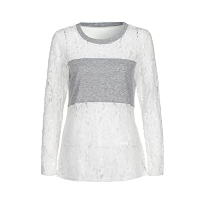 AIMEE7 Femmes Dames Casual Lace Patchwork Chemise à manches longues Tops Blouse