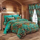 20 Lakes Hunter Camo Comforter, Sheet, Pillowcase Set (Queen, Teal)