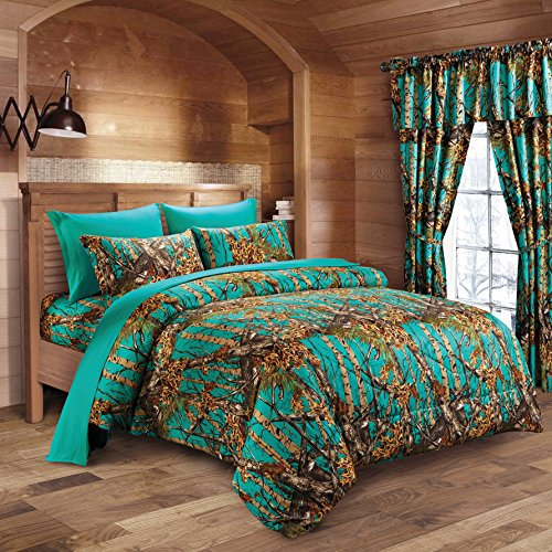 Hunter Camo Comforter, Sheet, & Pillowcase Set (Queen, Teal)