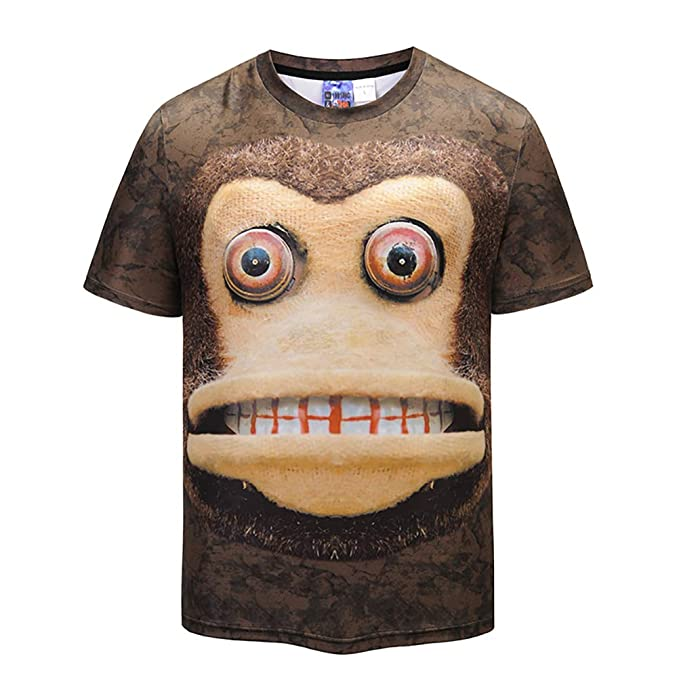 9f1af010790 Image Unavailable. Image not available for. Color  Cool T-shirt 3D T-shirt  Print Monkey Short Sleeve Summer Tops Tees Tshirt