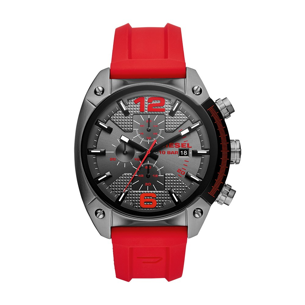 Men's Overflow Stainless Steel Quartz Watch with Silicone Strap, red, 21 (Model: DZ4481)