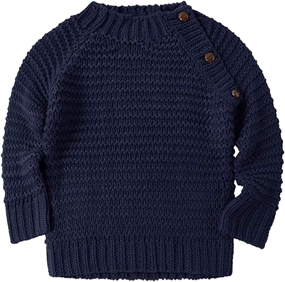 Baby Boy Girls Knit Sweater Pullover Sweatshirt Long Sleeve Warm Tops Spring Fall Winter Outfits for Infant Toddler Navy Blue