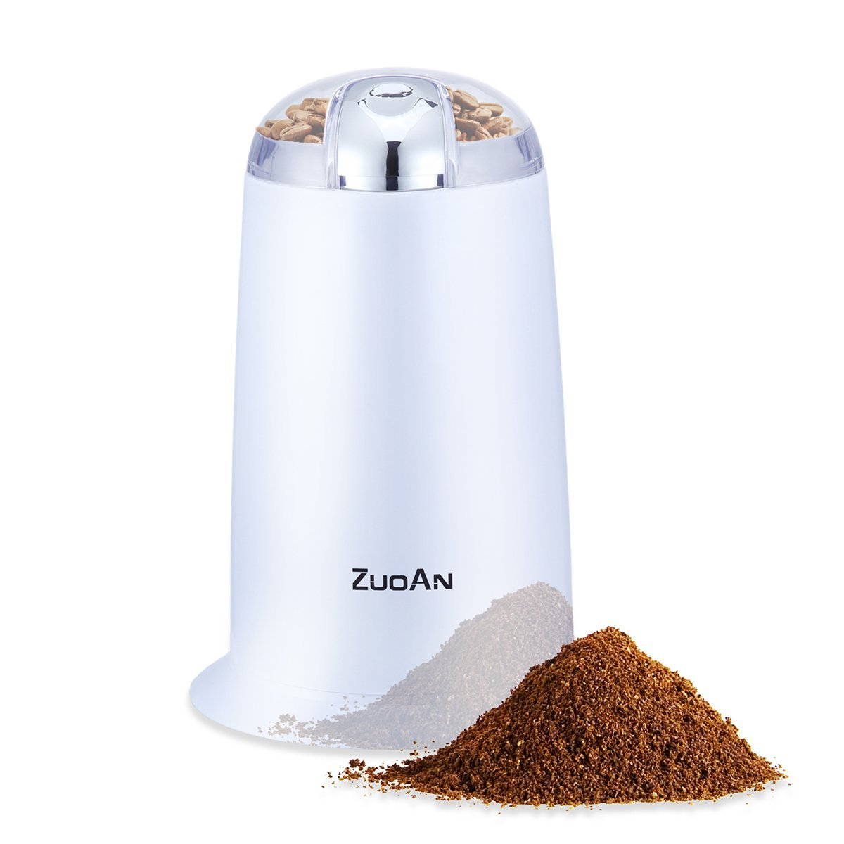 Coffee Grinder,Automatic Premium Electric Grinder,ZUOAN,with Cleaning Brush,Super Powerful 140W Motor,and 6 Seconds Quick Grinding for Coffee Beans, Spices, Nuts and Grains etc