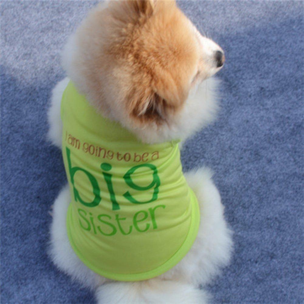 Sukisuki Abbigliamento per Cani Casual Senza Maniche con Protezione Solare Estiva per cagnoline gatta Green S