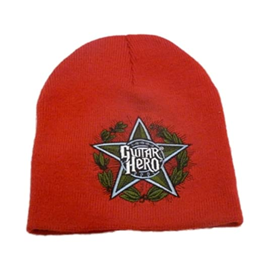 Guitar Hero Beanie Mens Red Stocking Cap Video Game Winter Hat at ... c09602163a6