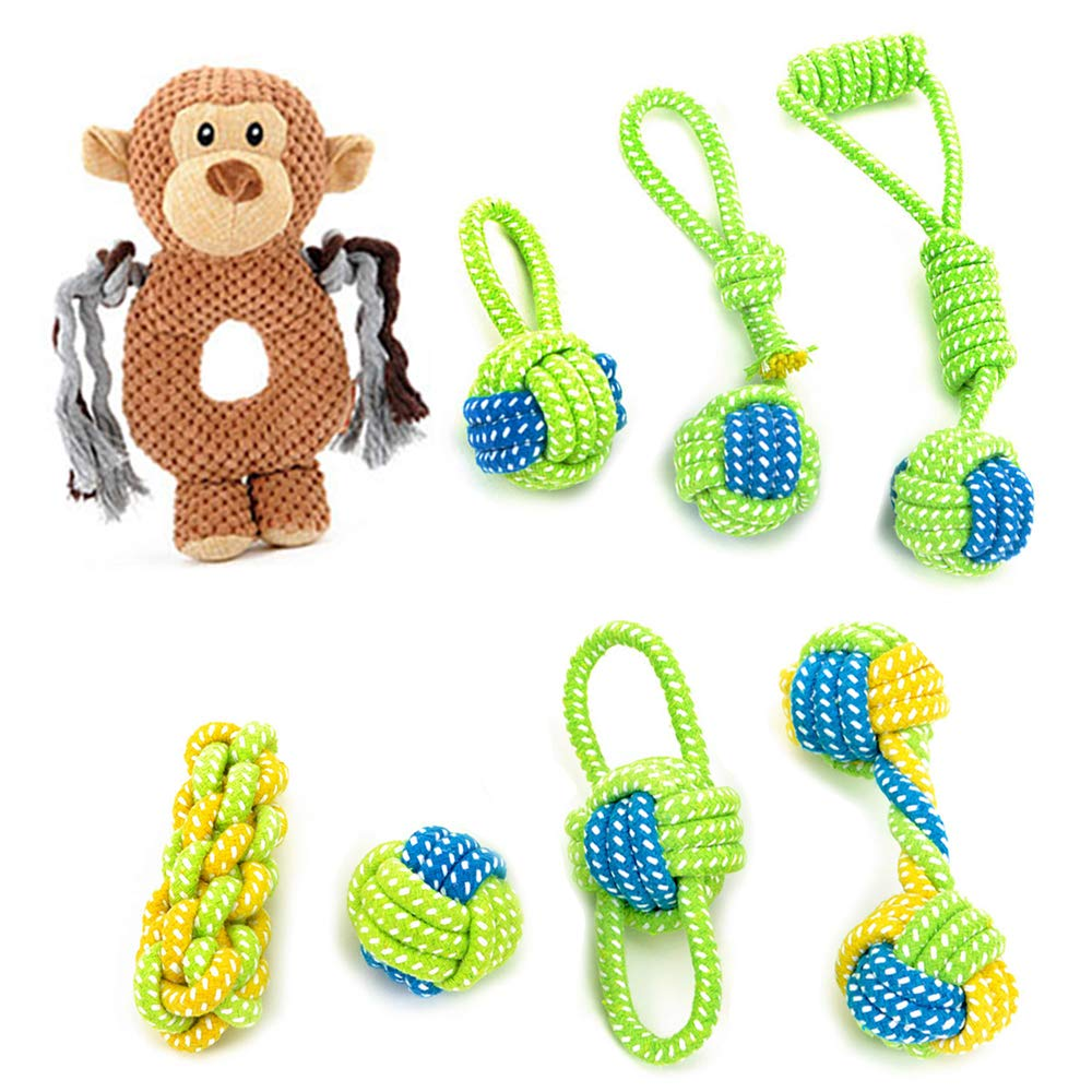 Dog Rope Toy Puppy Chew Teething Toys Mokey Dog Toy 100% Nature Cotton Ball Toy 8 Pack Rope chew Toys for Small and Medium Dog Interactive Play Toy for toss and tug Play