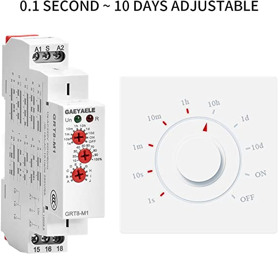 GRT8-M1,A230 GAEYAELE 1PCS GRT8-M 16A Multifunction Time Relay with 10 Function Choices AC220V OR AC//DC12V-240V Relay