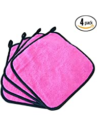 (4-Pack) Premium 10 in. x 10 in. Microfiber Facial Towels ~ Ultra Soft and Gentle Luxury Makeup Remover Wash Cloths with Silky Satin Border ~ TRC Skin Care (Pink)
