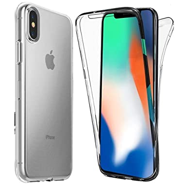 competitive price dcf87 5e246 ComKey iPhone X/Xs Case, iPhone X/Xs Ultra Thin 360 Case, Clean,  Transparent [Full Front and Back Protection] Transparent Cover - Clear