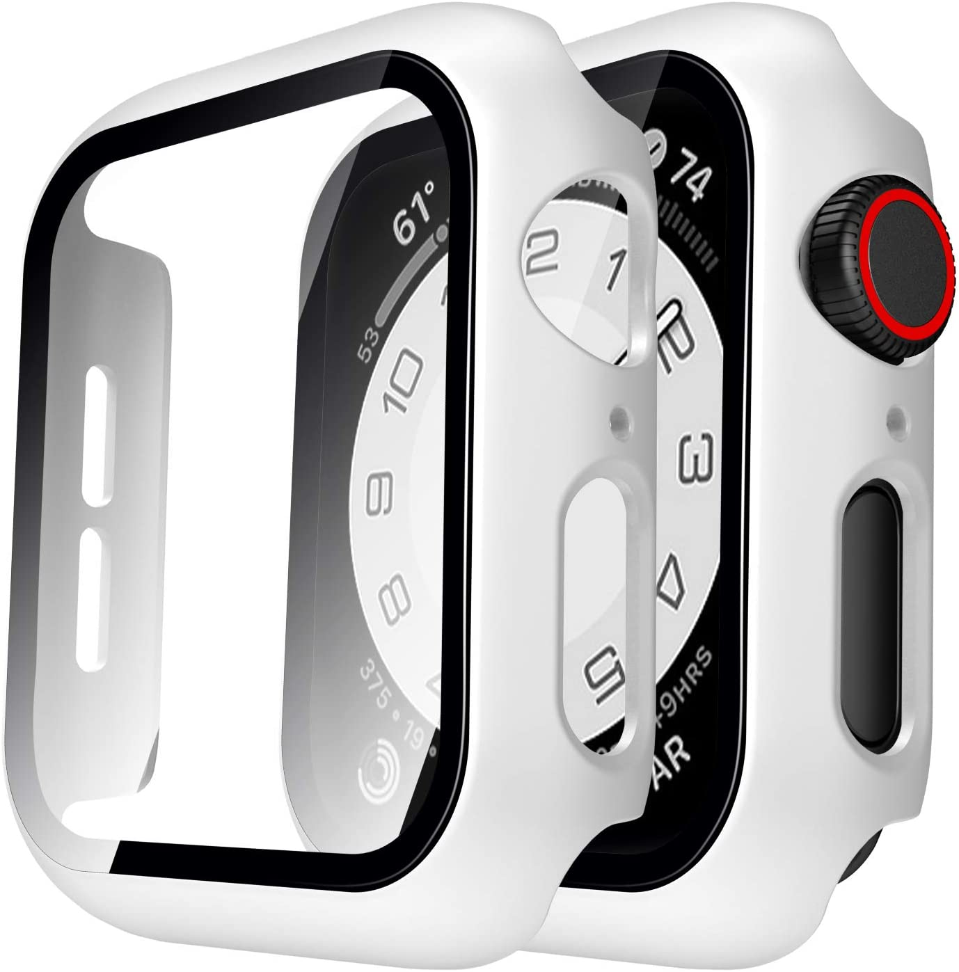 TAURI 2 Pack Hard Case Compatible for Apple Watch SE Series 6 5 4 44mm Built in 9H Tempered Glass Screen Protector Slim Bumper Touch Sensitive Full Protective Cover Compatible for iWatch 44mm - White