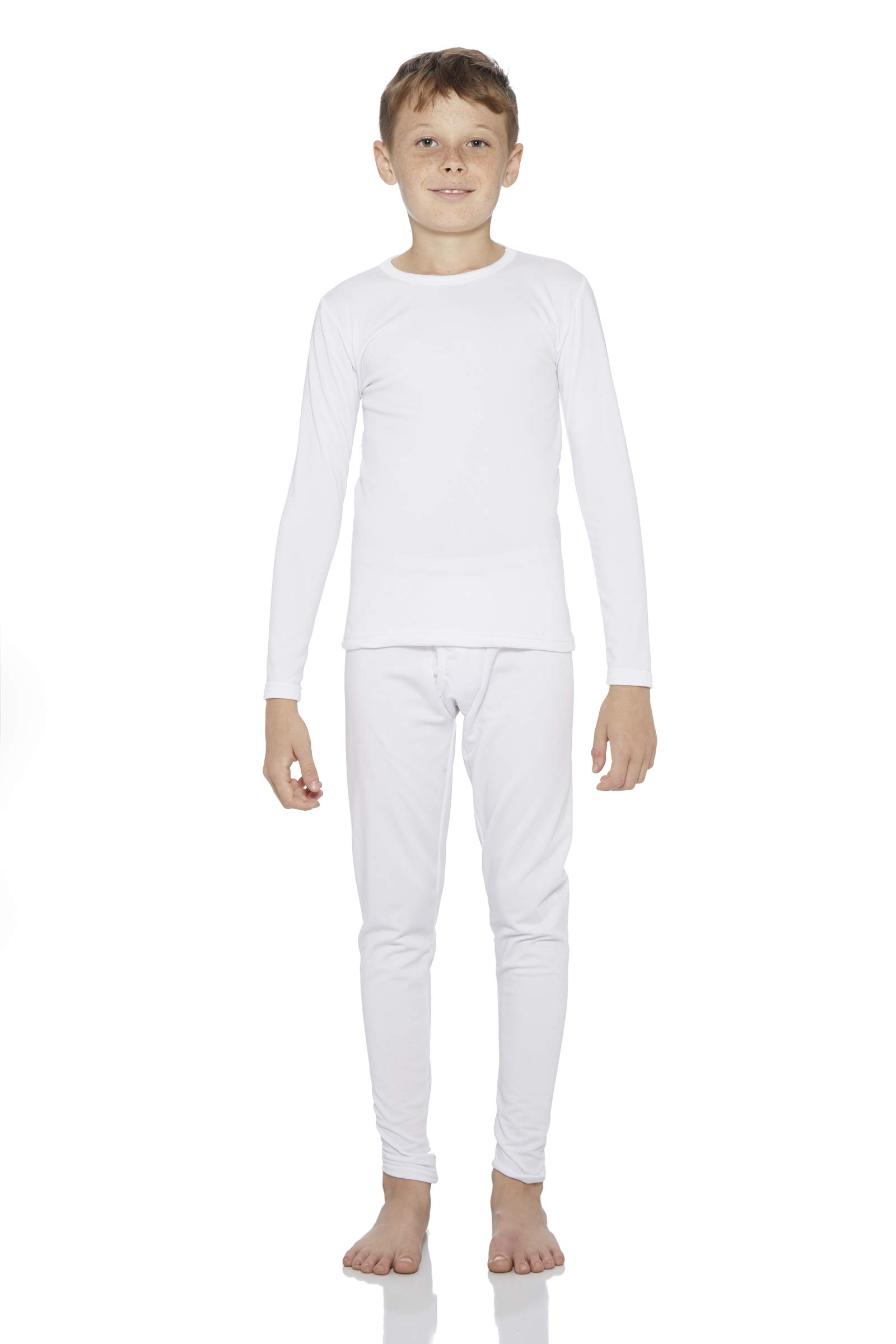 Rocky Thermal Underwear for Boys Fleece Lined Thermals Kids Base Layer Long John Set White by Rocky