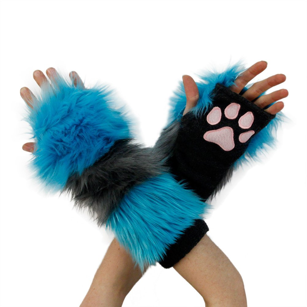 Pawstar Furry Cheshire Cat Striped Paw Warmers Arm Fingerless Gloves - Alternate