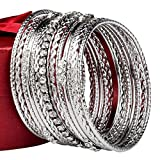 Womens stainless steel high polished 13- pieces stackable bangle bracelet