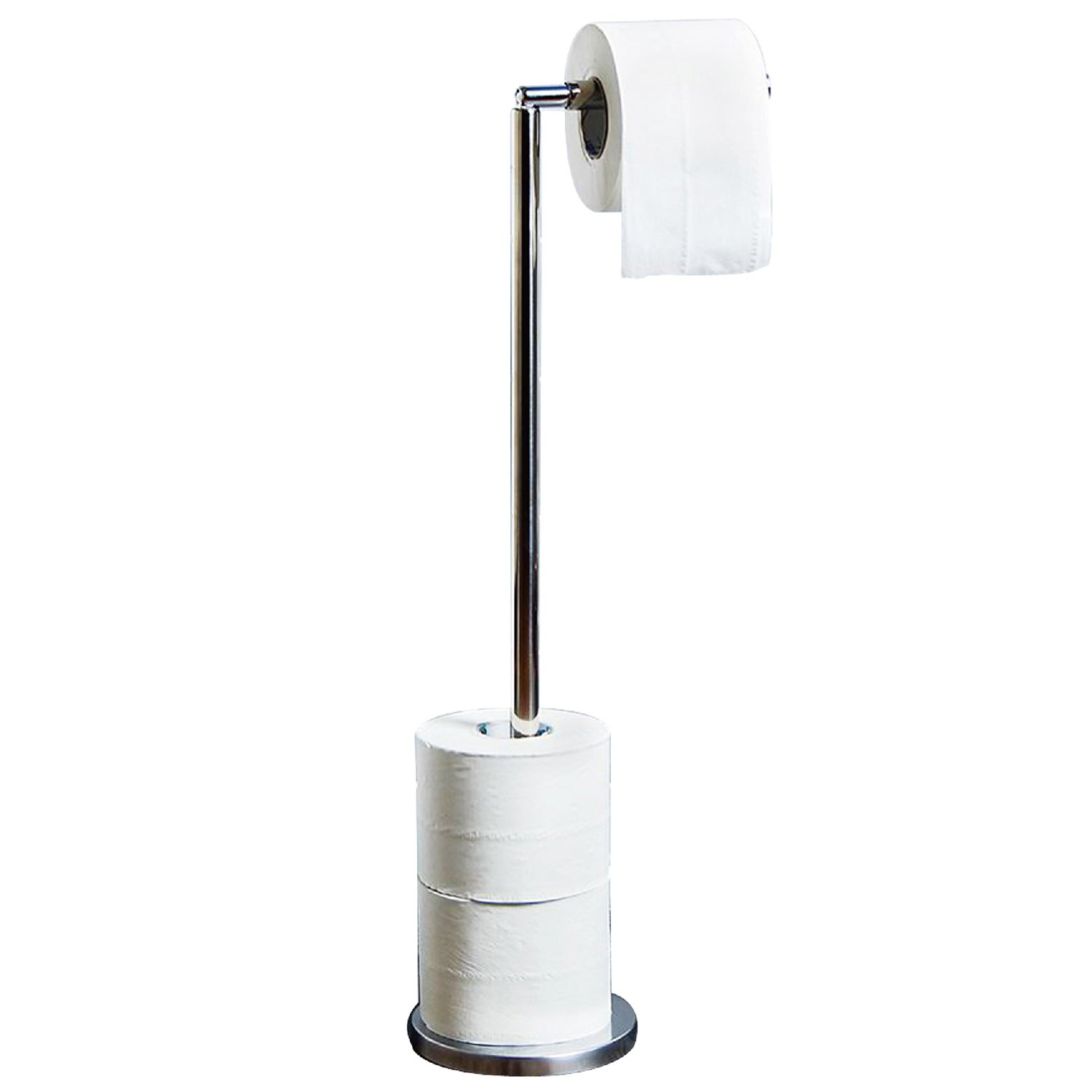 Crystals 2 in 1 Stainless Steel 4 Paper Roll Free Standing with Heavy Duty Base Bathroom Toilet Roll Holder Dispenser