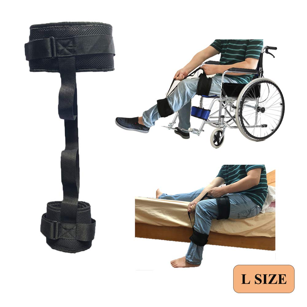 Leg Lifter Strap Handicap Lifter Wheelchair Elderly Lifting Devices Foot Knee Thigh Loop Up to 25'' with Hand Grip for Disability, Senior, Hip & Knee Replacement Mobility Aids for Cars Bed Couch (L) by H&S Health