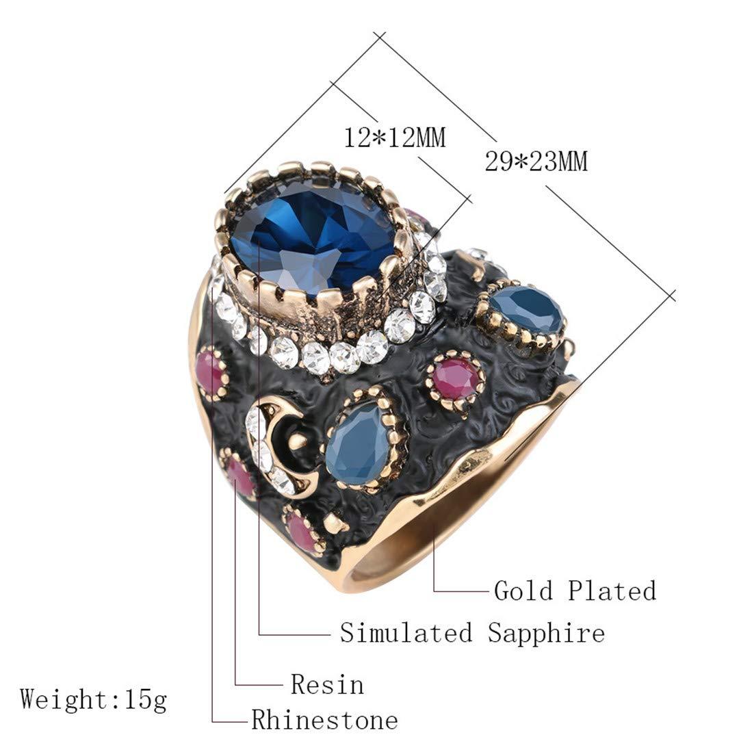 MARRLY.H Unique Big Black Enamel Ring Blue Crystal Gold Color Ethnic Antique Rings for Women Retro Bridal Vintage Fine Jewelry