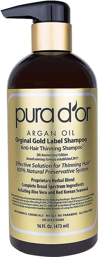 PURA DOR Champú de aceite de argán orgánico Premium para la prevenciónde Caída del