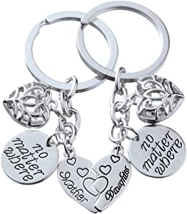 lauhonmin 2pcs Mother Daughter Key Chain Set No Matter Where Compass Split Broken Heart for Women Girl (Style B)