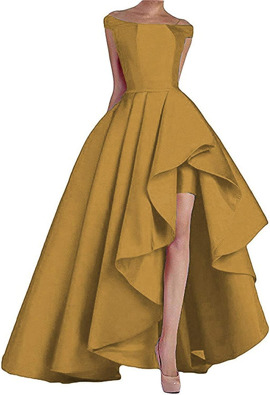 Off Shoulder Prom Dresses Long High Low Formal Gowns for Women Wedding Evening Dress