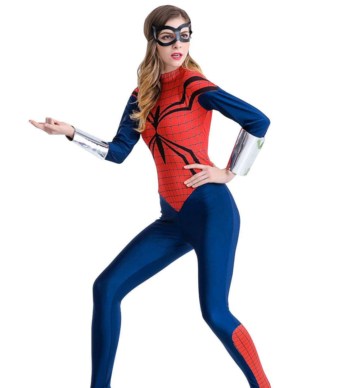 - 6162x0M2fzL - XSHUN Women Faux Leather Spiderman Jumpsuit Catsuit Halloween Cosplay Spiderman Costume