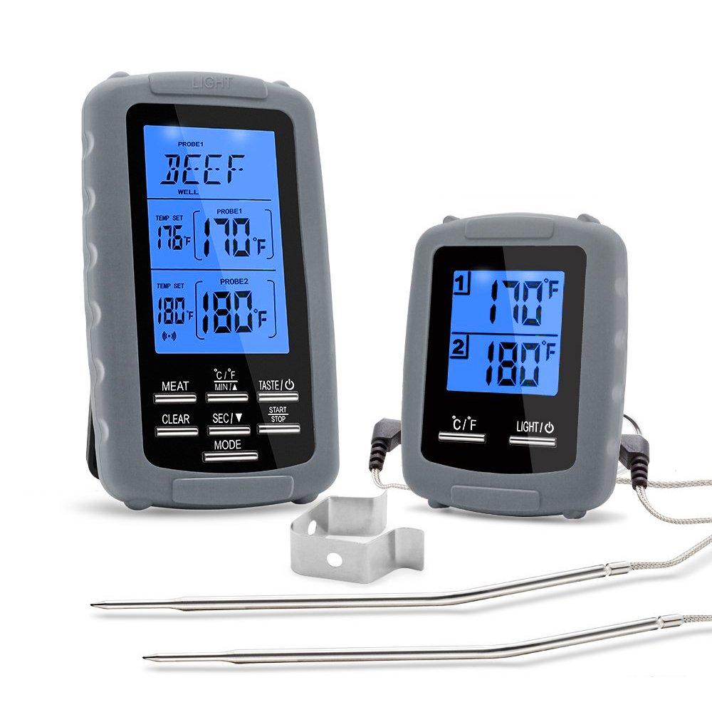 UPGRADED HomEnjoy Wireless Remote Digital Cooking Food Meat Thermometer with Dual Probe for Smoker Grill BBQ Thermometer, Gray