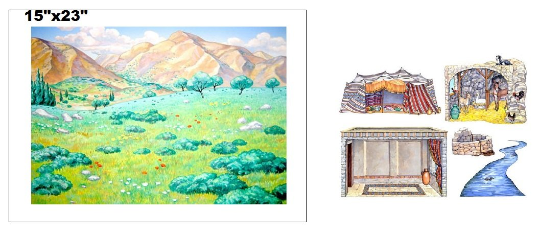 Hillside Meadow Flannel Board Cover & Overlays- River Stone Well Stable Tent Interior Scripture Stories Bible- Precut