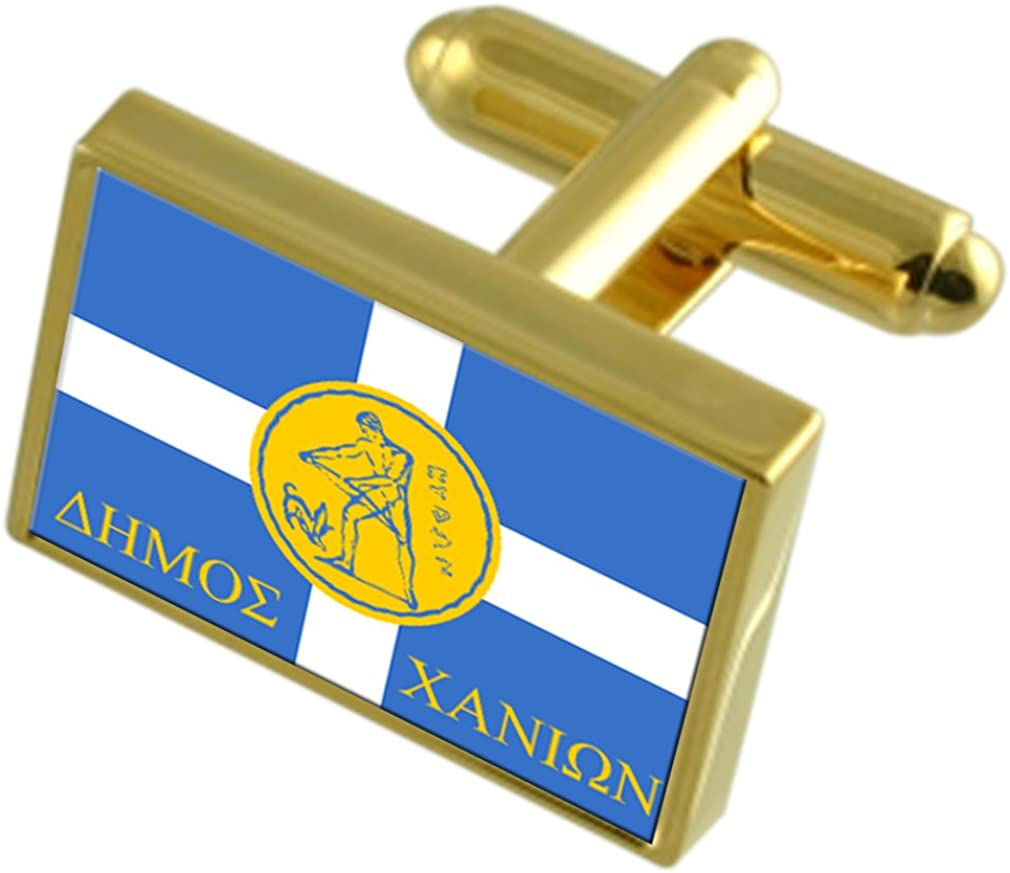 Chania City Greece Gold-tone Flag Cufflinks