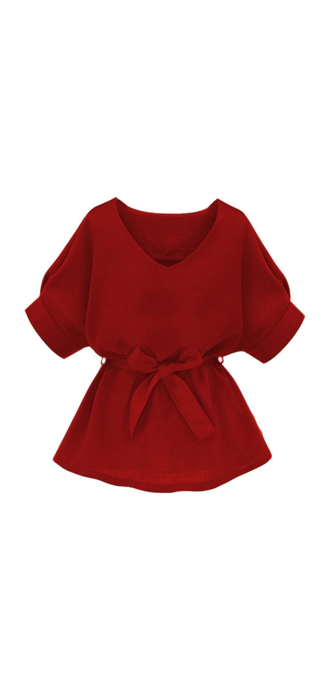 Women's V Neckline Self Tie Short Sleeve Blouse Tunic