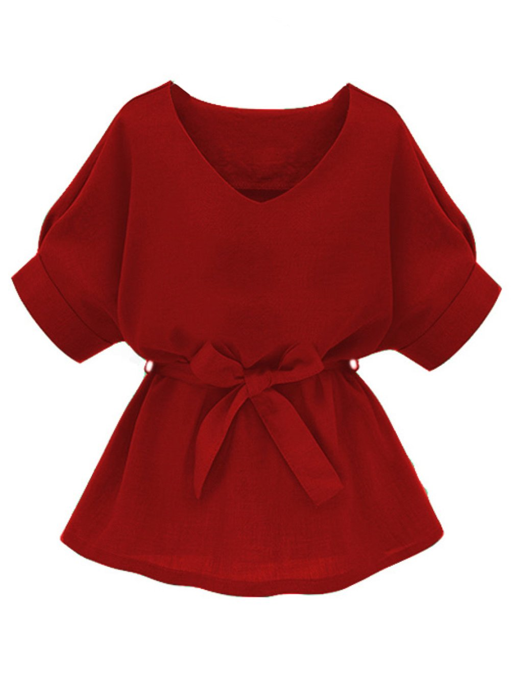 Milumia Womens V Neckline Self Tie Short Sleeve Blouse Tops Red X-Large