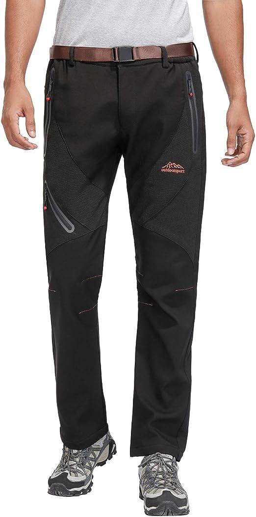 Okay Pantalones con Forro de Vell/ón Softshell para Hombre Pantalones de Senderismo para Hombres al Aire Libre Pantalones de Pesca para Escalada de Invierno C/álido para Caminar
