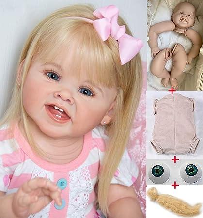 Limbs-Head-Body-Eyes Unpainted DIY 28 inch Reborn Baby Dolls Kits Girl Doll