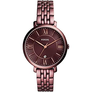 Fossil Womens 36mm Jacqueline Wine Stainless Steel Watch