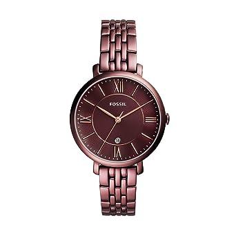 0fbaf8258 Fossil Women's Jacqueline Quartz Stainless Steel Dress Watch, Color: Purple  (Model: ES4100