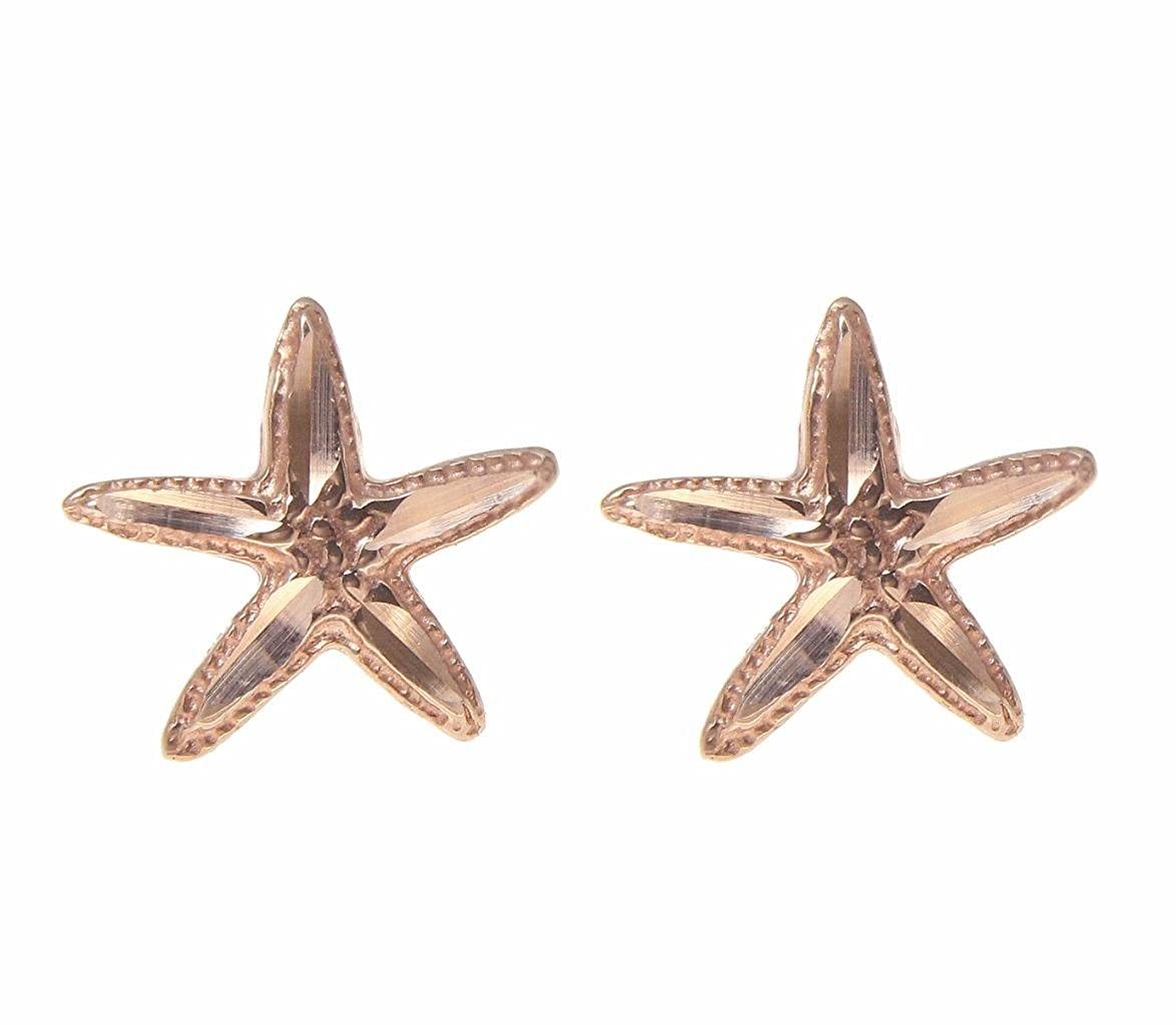 14K pink rose gold Hawaiian 12mm diamond cut starfish post stud earrings