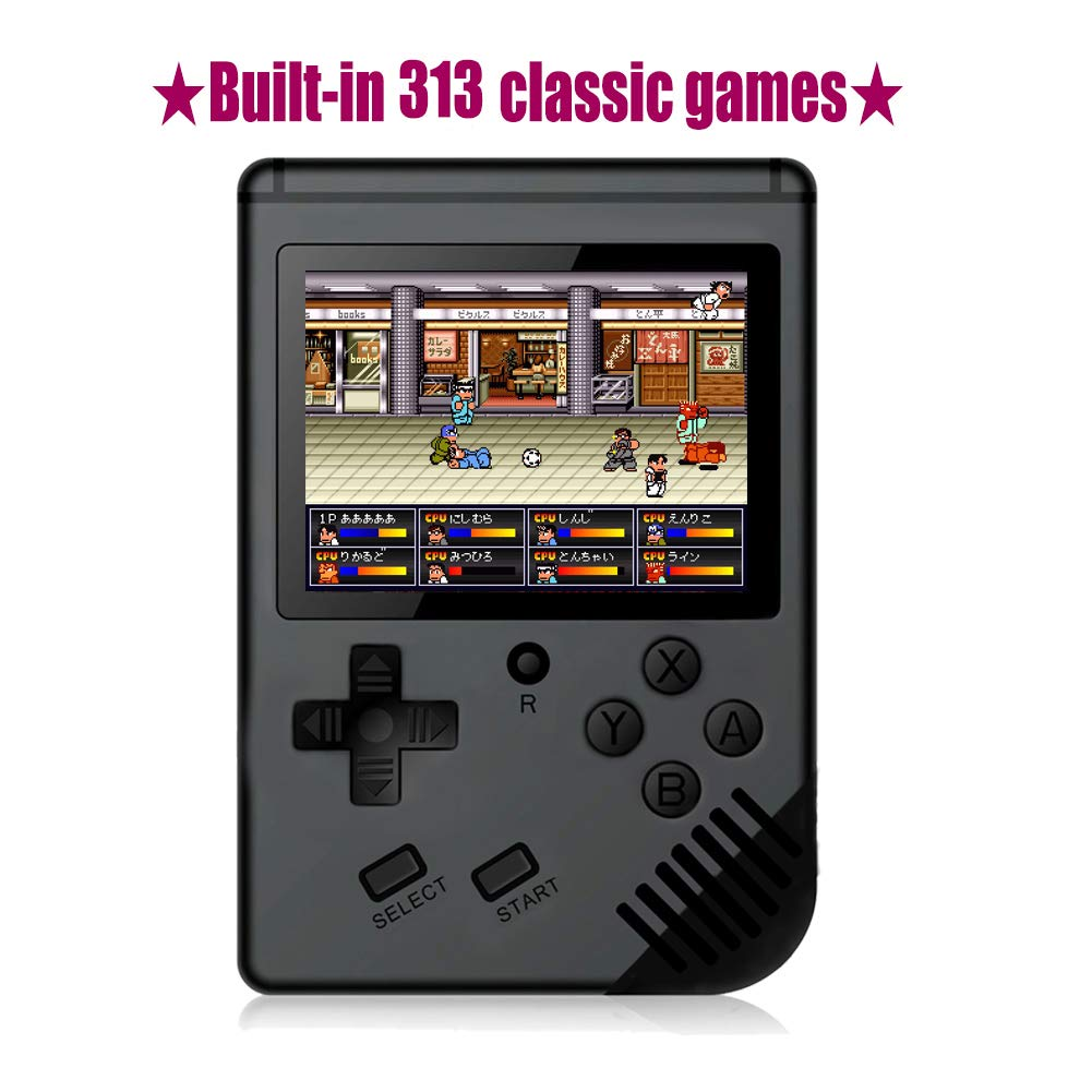 Xinguo Handheld Game Console, Portable Video Game 3 Inch HD Screen 313 Classic Games,Retro Game Console Can Play on TV, Good Gifts for Kids to Adult. (Dark Black)