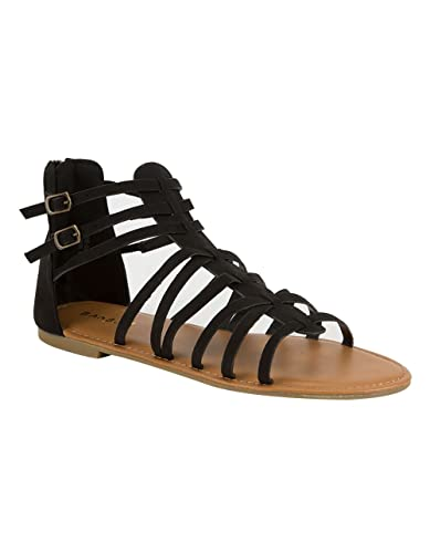 13c3788a2 Amazon.com   BAMBOO Strappy Back Zip Womens Gladiator Sandals, Black, 7    Flats