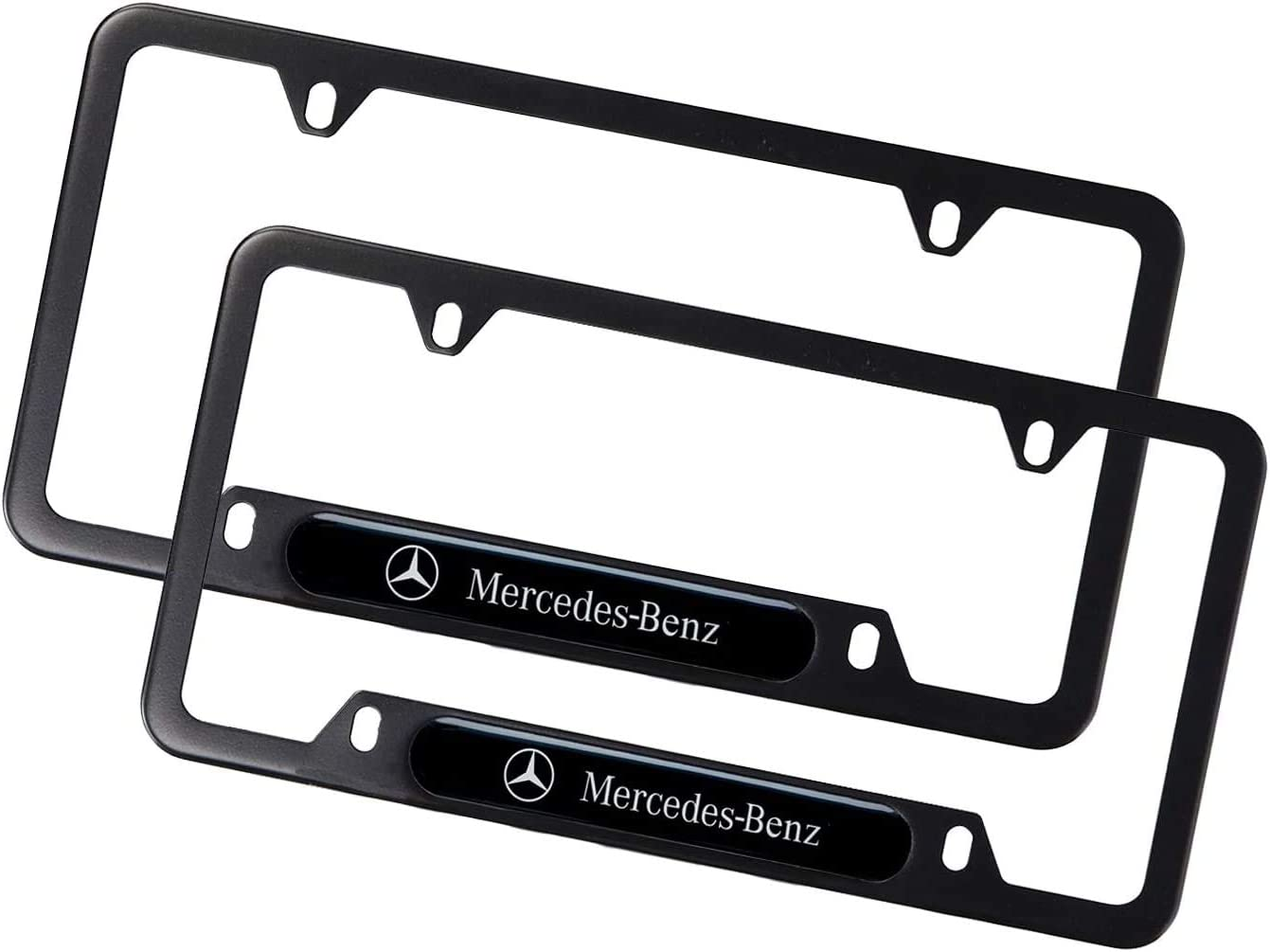 fit Benz Westion 2pcs Car Logo License Plate Frames with Screw Caps Set Stainless Steel Frame Applicable to US Standard Cars License Plate