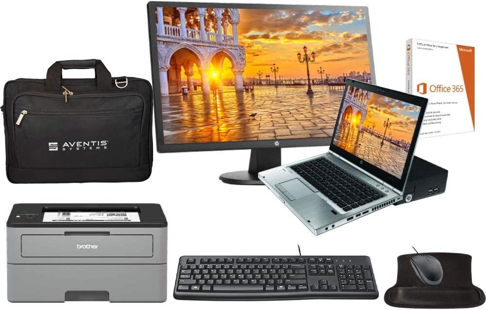 HP Elite 8460p All in One Laptop Bundle with 24 Inch Monitor, Printer, Docking, Keyboard, Mouse, Laptop Bag, Intel i5 2.5GHz, 16GB, 1TB SSD, Win 10 Pro, Office 365 (Renewed)