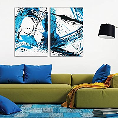 2 Panel Abstract Blue Color Splash x 2 Panels, Crafted to Perfection, Gorgeous Expertise